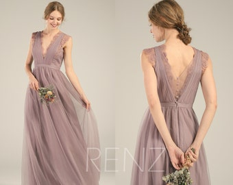 a4174b45fb Bridesmaid Dress Dark Mauve Tulle Dress Wedding Dress V Neck Lace Prom Dress  Illusion V Back A-Line Party Dress Sleeveless Maxi Dress(LS493)