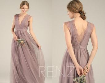 d9493ceebe Bridesmaid Dress Dark Mauve Tulle DressWedding DressV Neck