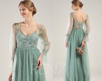 ca7f9d591db Bridesmaid Dress Dusty Green Tulle Wedding Dress Long Lantern Sleeve Prom  Dress V Neck Lace Back Evening Dress A-line Formal Dress (LS591)