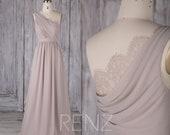 Bridesmaid Dress Taupe Chiffon Dress Wedding Dress One Shoulder Maxi Dress Illusion Lace Draped Back Prom Dress Ruched A-line Dress(H502B)