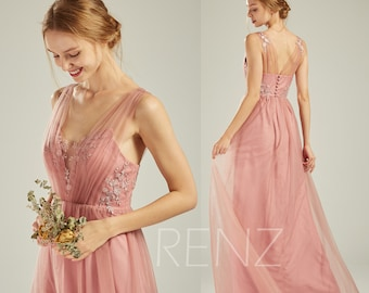 44cf8ef0a6f Bridesmaid Dress Blush Lace Boho Wedding Dress Long Tulle Sweetheart  Illusion Flowy Dress (LS532)