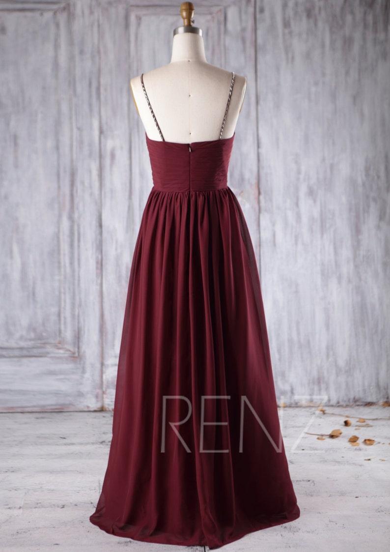 Bridesmaid Dress Wine Chiffon Dress Ruched Sweetheart Party Dress Wedding Dress Beading Spaghetti Straps Prom Dress A-line Maxi Dress H296B
