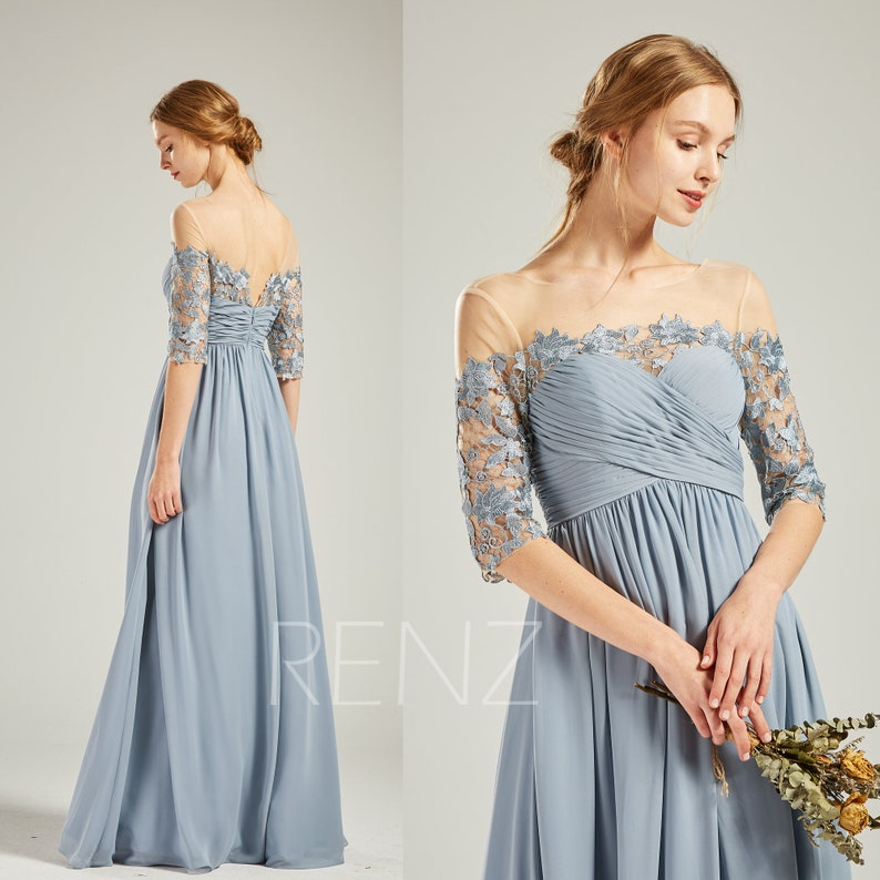 8f10cf48e31 Dusty Blue Chiffon Bridesmaid Dress Wedding Dress Half Sleeve