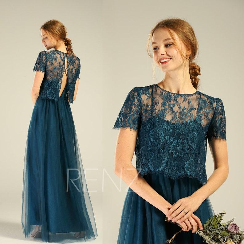 bc7c1db005 Prom Dress Ink Blue Bridesmaid Dress Short Sleeves Illusion