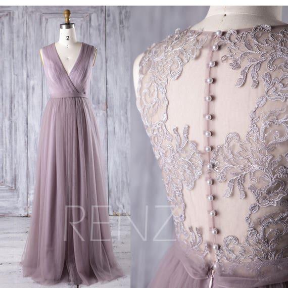 Bridesmaid Dress Dark Mauve Tulle Dresswedding Dressv Neck Etsy