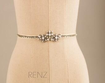 Wedding sash, Bridal belt , Bridal sash, Bridesmaids sash Crystal sash Jeweled Belt (SA153)