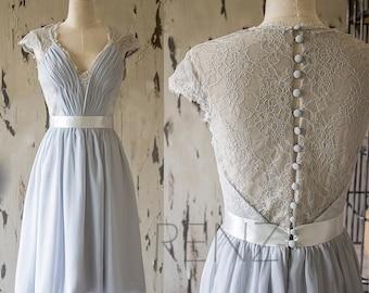 Medium Gray Lace Bridesmaid Dress, Knee Length Wedding Dress, Cap Sleeve Formal Dress,Gray Short Prom Dress, Cocktail Dress(F143)-Renzrags