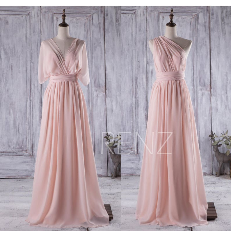 207223e097b Peach Convertible Chiffon Bridesmaid Dress Long Multiway