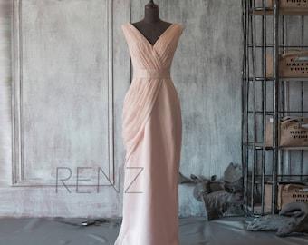 Bridesmaid Dress Peach Chiffon Dress,Wedding Dress,Long Ruched V Neck Prom Dress,Asymmetrical Maxi Dress,Fitted Evening Dress(F107)-Renzrags