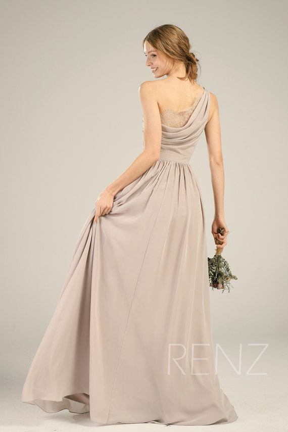 529d0ab9854a25 Bridesmaid Dress Taupe Chiffon DressWedding DressOne