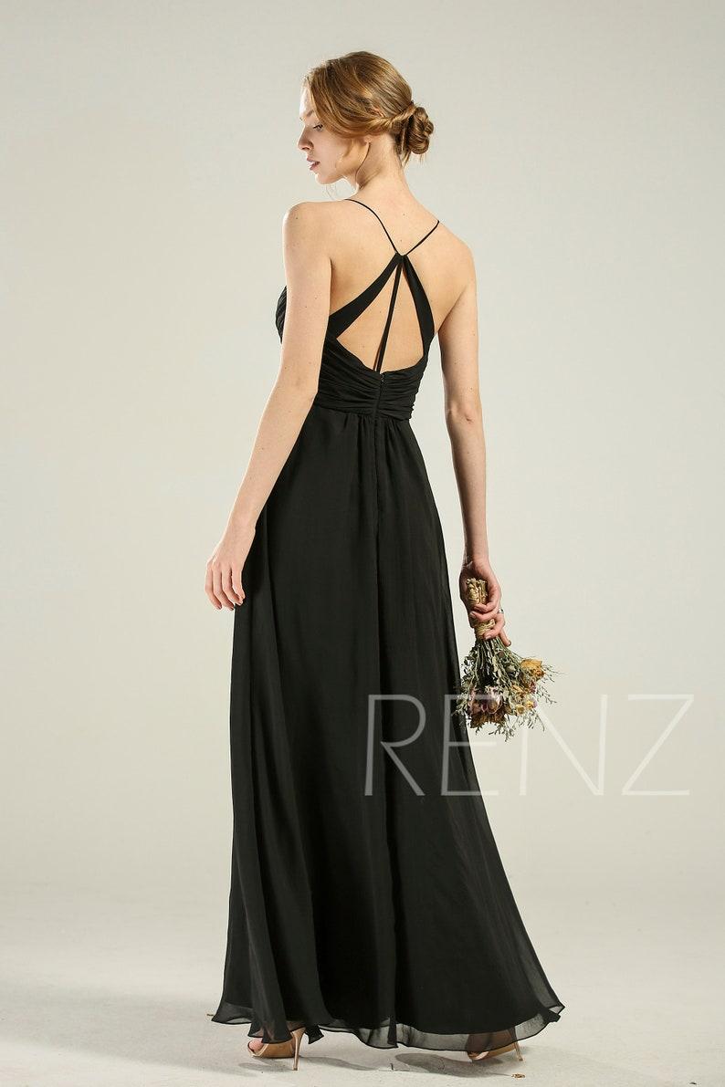 Bridesmaid Dress Black Chiffon Dress Wedding Dress Spaghetti Strap Prom Dress V Neck Evening Dress A-Line Maxi Dress Long Party Dress H289A