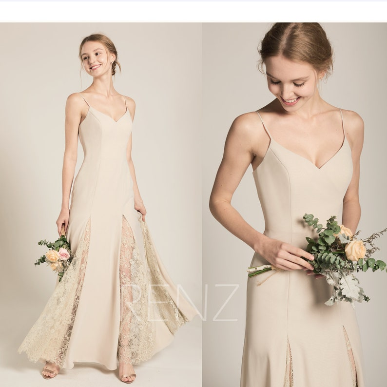 Prom Dress Cream Chiffon Bridesmaid Dress Wedding Dress Etsy