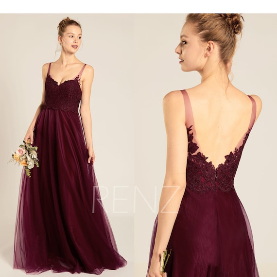 Bridesmaid Dress Burgundy Tulle Prom Dress Long Sweetheart A Line Backless Wedding Dress (HS691)