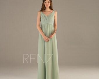 Bridesmaid Dress Dusty Mint Chiffon Dress,Wedding Dress,Ruched V Neck Empire Waist Prom Dress,Sleeveless A Line Maxi Dress(T111) Renzrags