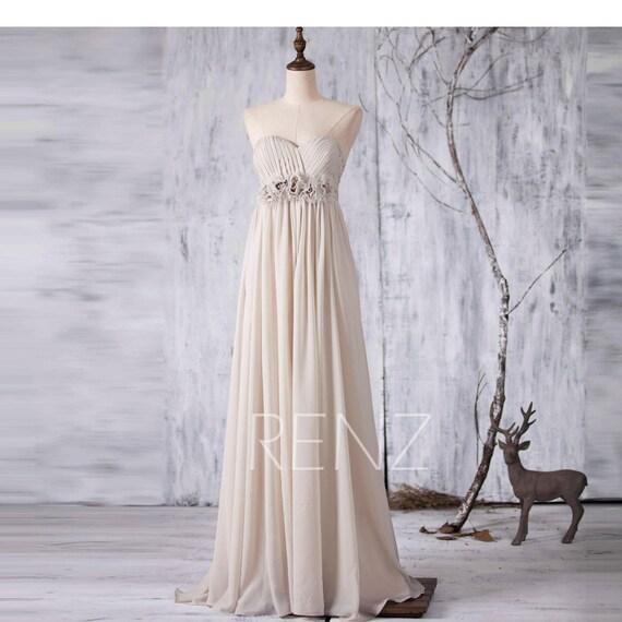 Cream/Beige Bridesmaid Dress Long Wedding Dress Strapless
