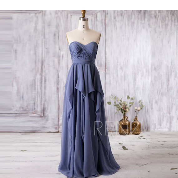 What Colours Not To Wear To A Wedding: Bridesmaid Dress Steel Blue Wedding DressRuffle Chiffon Prom