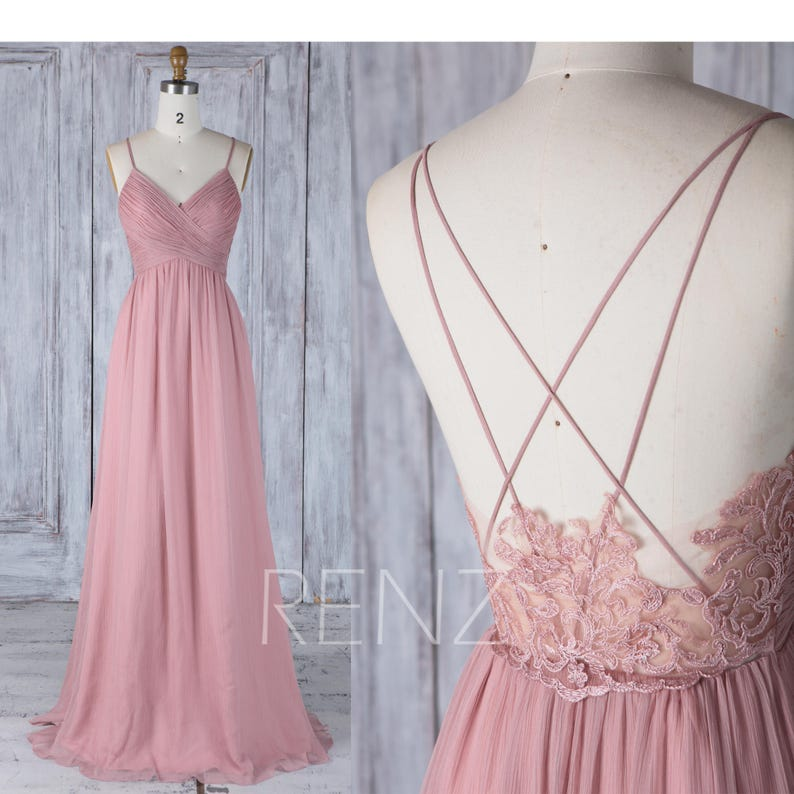 Bridesmaid Dress Dusty Rose Boho Wedding Dress Empire Waist image 0