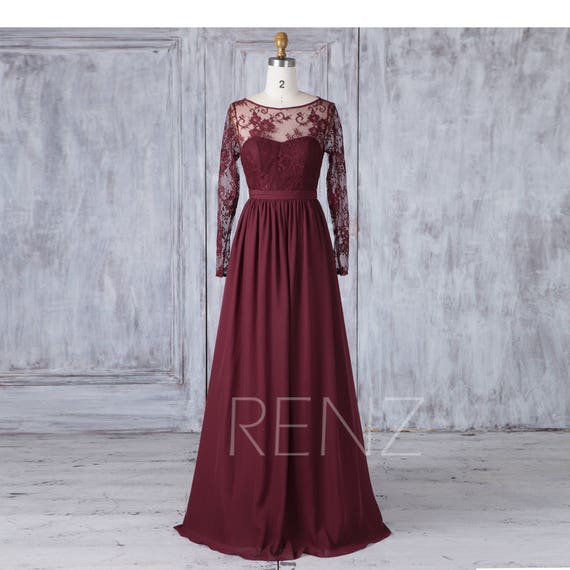 Long Bridesmaid Dress Maroon Wedding Dress Long Lace Sleeve Maxi Dress Boat Neck Illusion Sweetheart Party Dress Back Prom Dress L406
