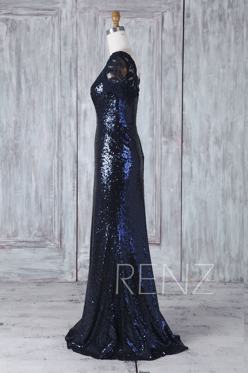HQ448 Navy Blue Sequin Bridesmaid Dress Lace Illusion Sweetheart Wedding Dress Short Sleeve Mother of Bride Dress Fitted Long Evening Dress