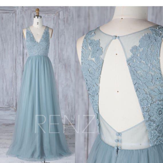 Bridesmaid Dress Dusty Blue Tulle V Neck Illusion Lace