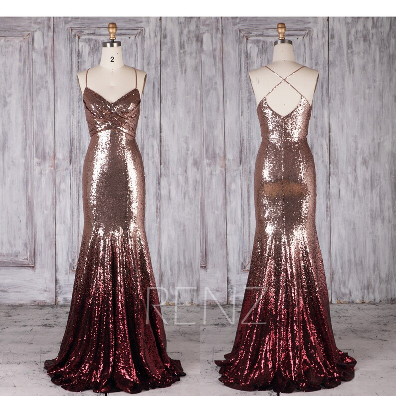 0965c4350f205 Bridesmaid Dress Rose Gold & Wine Ombre Sequin Dress Wedding | Etsy
