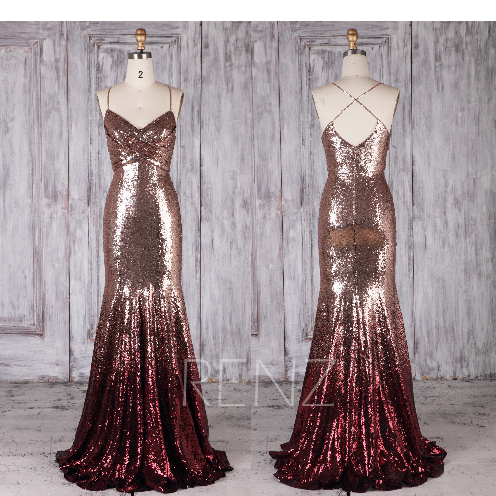 Bridesmaid Dress Rose Gold & Wine Ombre Sequin