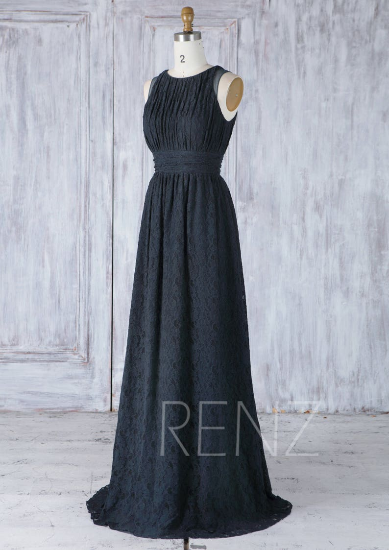 Bridesmaid Dress Dark Navy Blue Lace Dress Wedding Dress Boat Neck Evening Dress Ruched A Line Maxi Dress Long Sleeveless Prom Dressll315