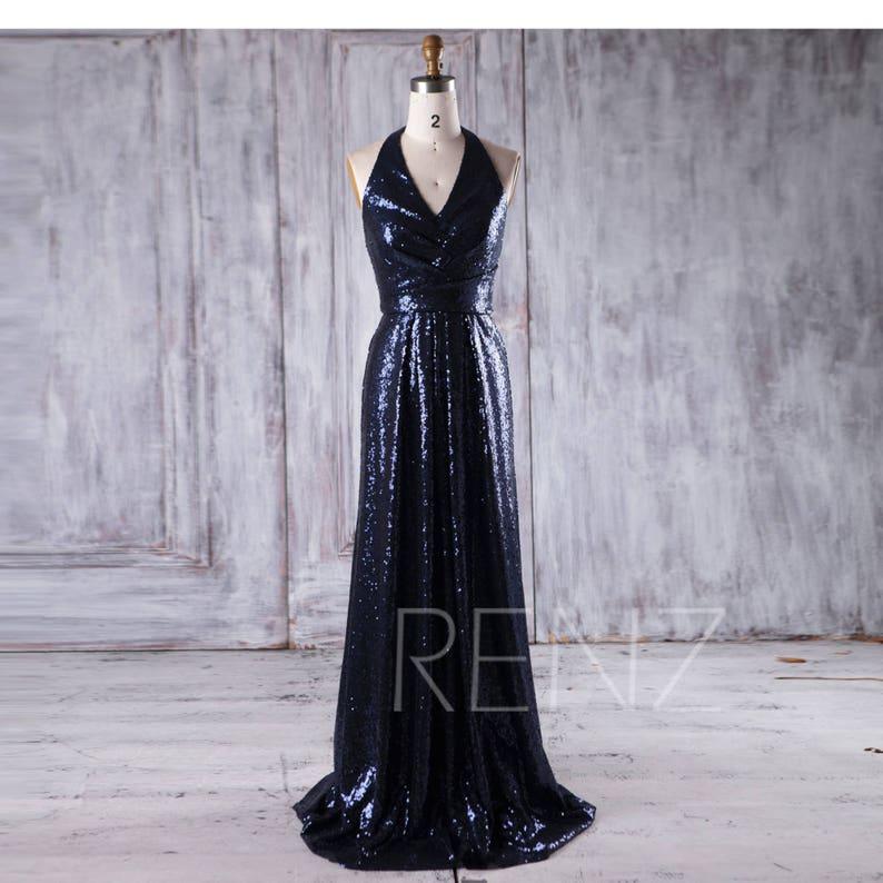 38242167cec Party Dress Navy Sequin Bridesmaid Dress V Neck Halter Wedding | Etsy