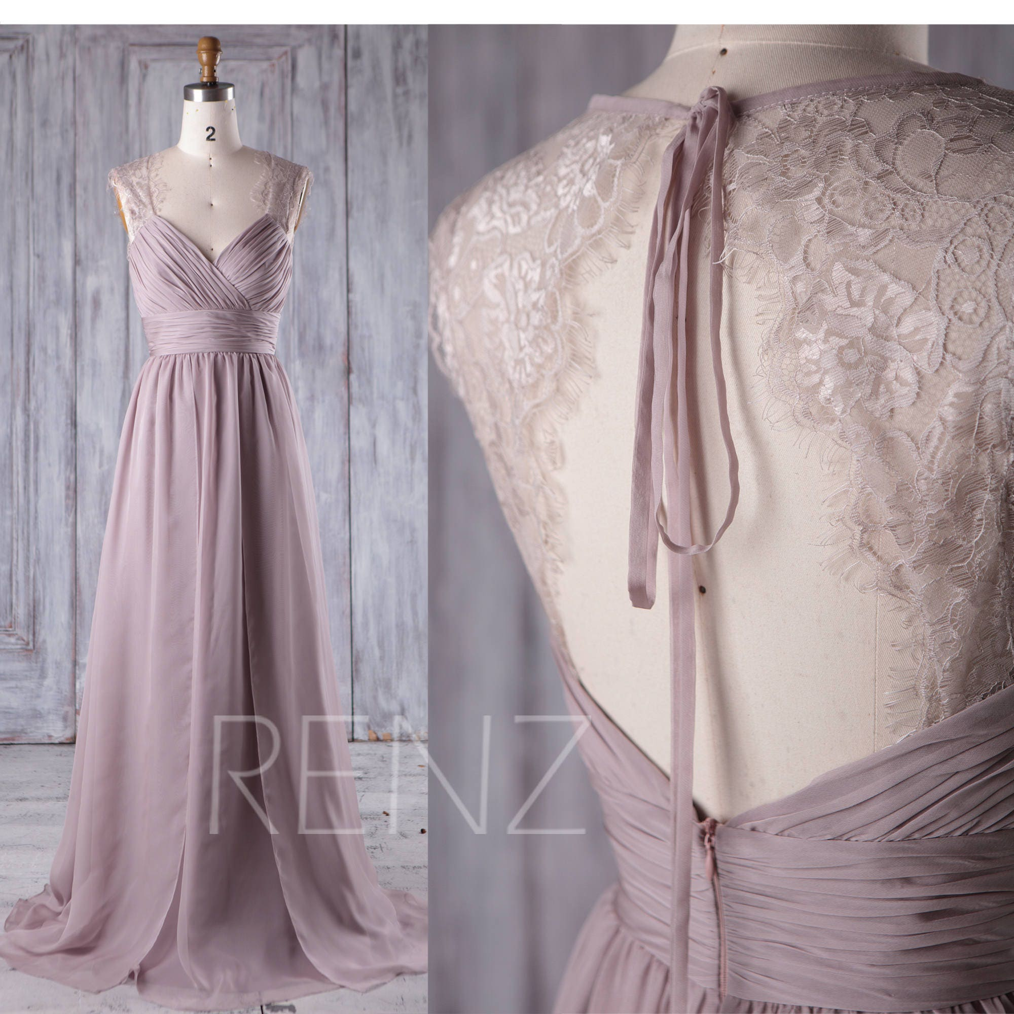 Brautjungfer Kleid Rose grau Chiffon-Kleid Brautkleid