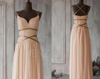 Bridesmaid Dress Peach Chiffon Dress,Sleeveless Party Dress,Ruched A Line Formal Dress,Criss Cross Straps Evening Dress(F062A1)-Renzrags