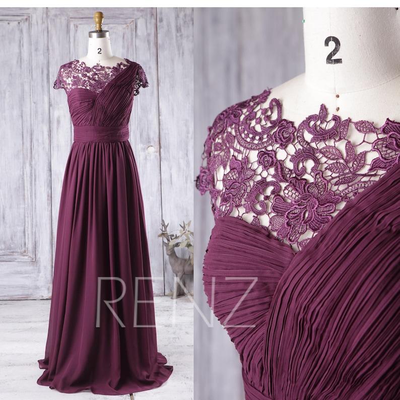 94f205e8b8 Prom Dress Plum Chiffon Bridesmaid Dress Illusion Lace Cap