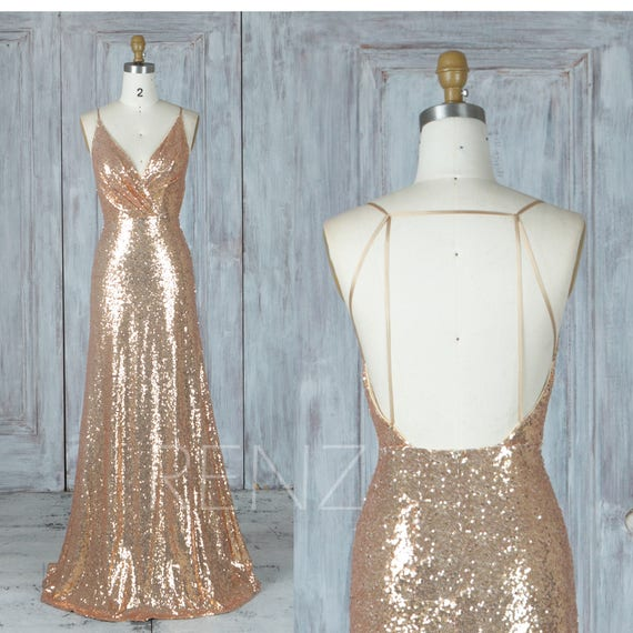 Bridesmaid Dress Gold Sequin Dress Wedding Dress Ruched V Neck Fitted Maxi Dress Spaghetti Strap Party Dress Backless Evening Dress(LQ388A)