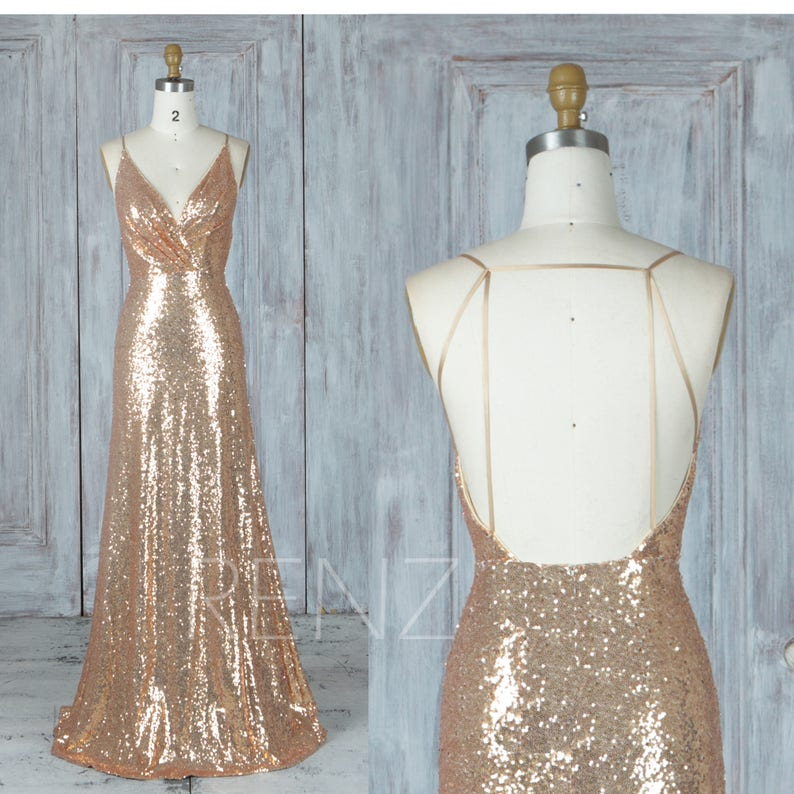 28e95ce4 Bridesmaid Dress Gold Sequin Dress Wedding Dress Ruched V Neck | Etsy