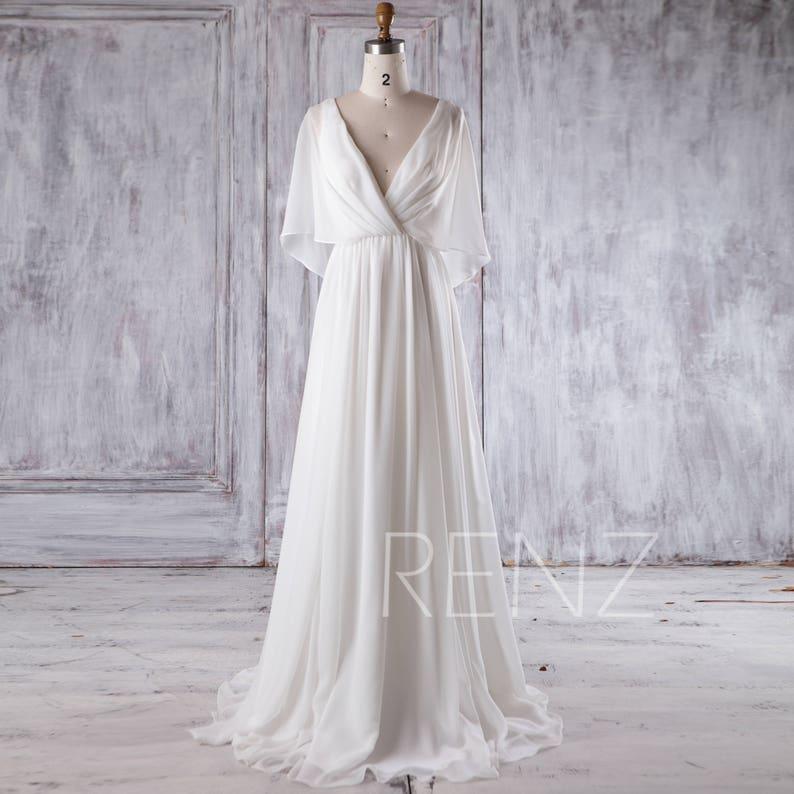 54dbe6a0c56a Beach Wedding Dress White Chiffon Evening Dress Long Sleeve | Etsy