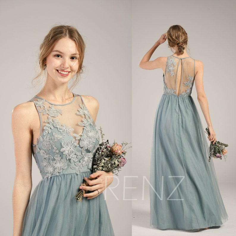 451b997b106 Prom Dress Dusty Blue Tulle Bridesmaid Dress Boat Neck Party