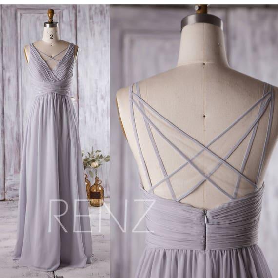Bridesmaid Dress Light Gray Chiffon Wedding Dress Ruched V Neck Prom Dress A line Maxi Dress Illusion Criss Cross Straps Party Dress(L126A)
