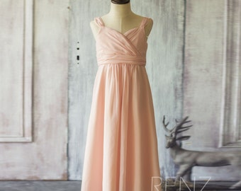 Peach Junior Bridesmaid Dress, Double Straps Flower Girl Dress, Maxi Dress, Long Cocktail Dress Floor Length (FK307)-Renzrags