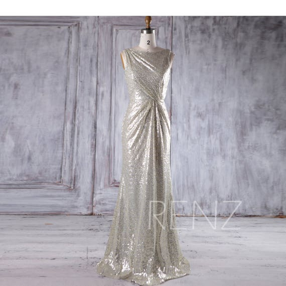 Party Dress Gold Silver Sequin Bridesmaid Dress Cowl Back Wedding Dress Ruched Bateau Neck Prom Dress Luxury A line Evening Dress(HQ355)