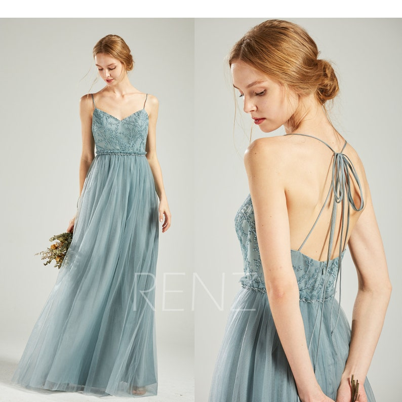 67ba3527a10b5 Bridesmaid Dress Dusty Blue Tulle Long Formal Dress Women Beaded Sweetheart  Convertible Straps A-line Prom Dress (HS718)