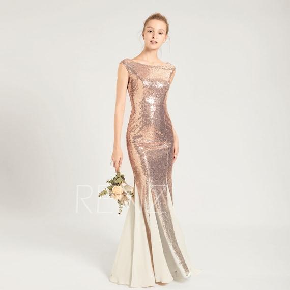 Ombre Mermaid Dress Rose Gold Sequin Dress Cap Sleeve Party Dress Scoop Neck Bodycon Prom Dress Cream Chiffon Insert Bridesmaid Dress(HQ703)