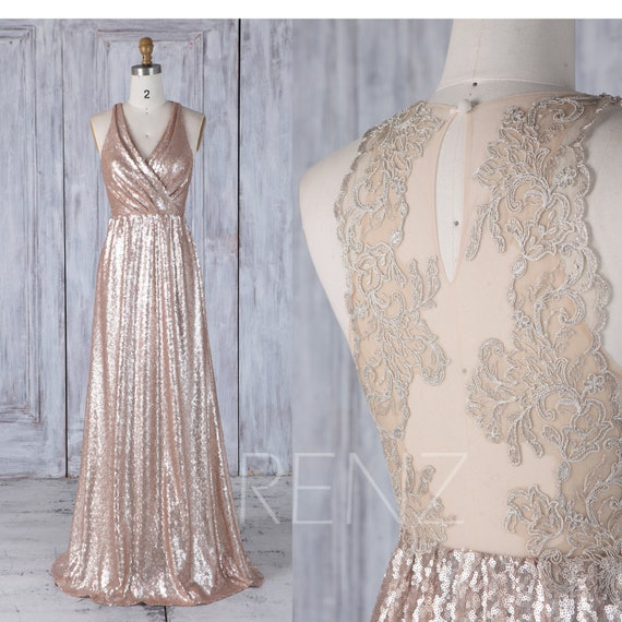 Bridesmaid Dress Tan Sequin Dress Wedding Dress Ruched V Neck Maxi Dress Illusion Lace Back Prom Dress A line Sleeveless Party Dress(LQ269)