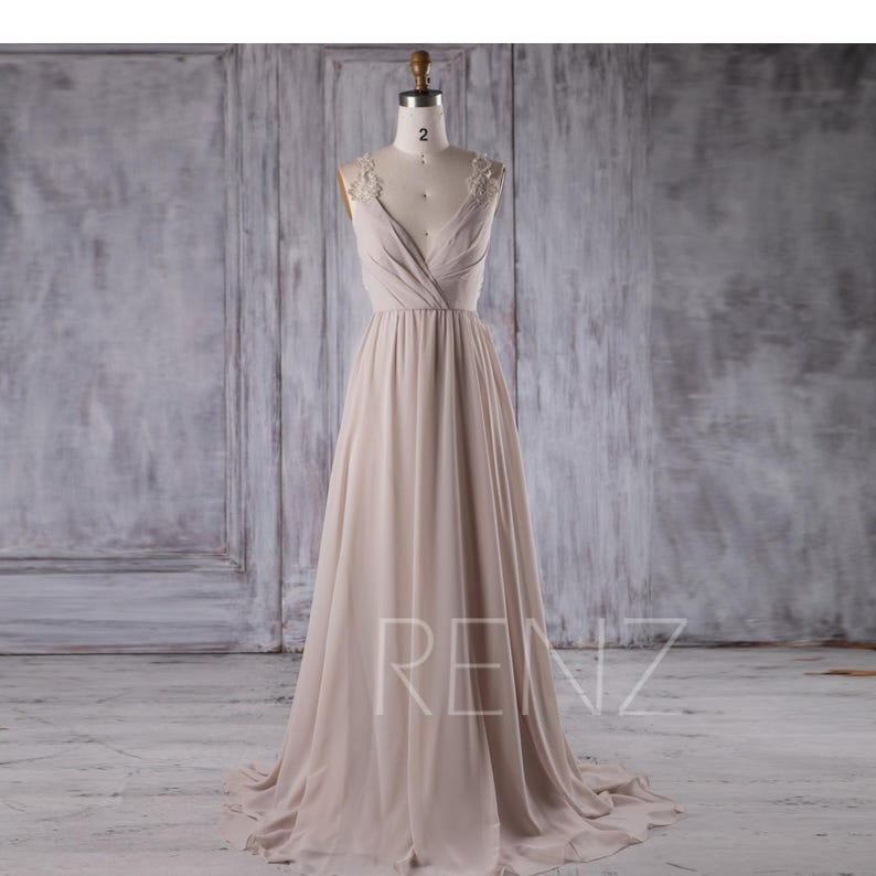 40b89359609c Party Dress Cream Chiffon Bridesmaid Dress Deep V Neck Wedding