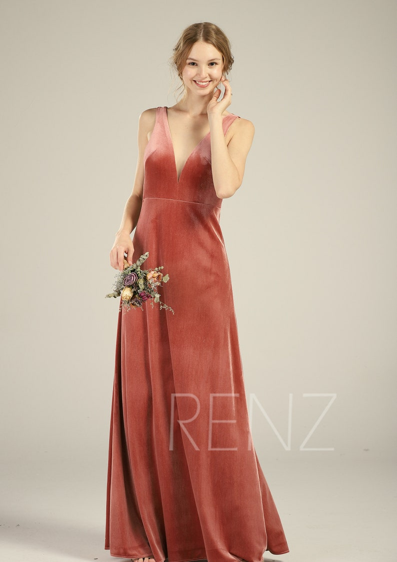 c302dd78e24 Velvet Bridesmaid Dress English Rose Illusion Boat Neck