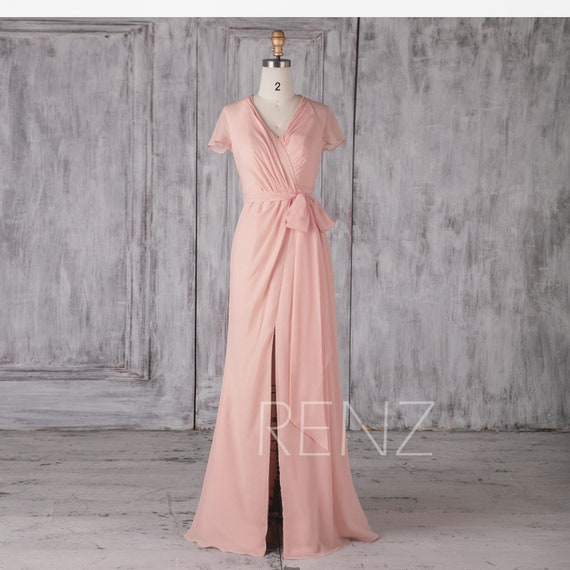 Bridesmaid Dress Soft Blush Chiffon Wedding Dress Cap Sleeves Formal Dress Ruched V Neck Party Dress Fitted Prom Dress Side Slit Dress(H372)