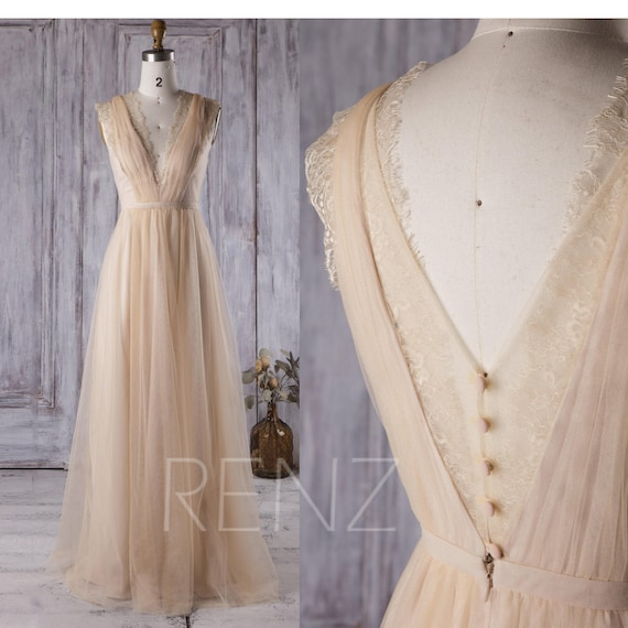 Boho Wedding Dress Champagne V Neck Tulle Bridesmaid Dress Simple Lace Bohemian Wedding Dresses (LS150)