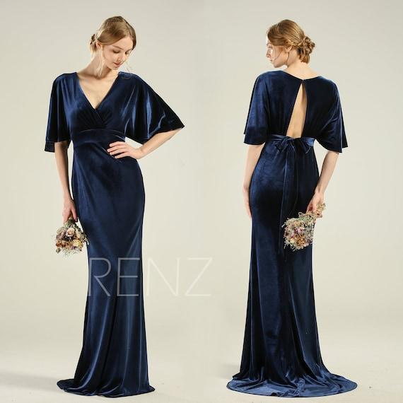 Mother of the Bride Dress Navy Blue Velvet Dress Long Sleeve V Neck Mermaid  Dress with Train (HV791)