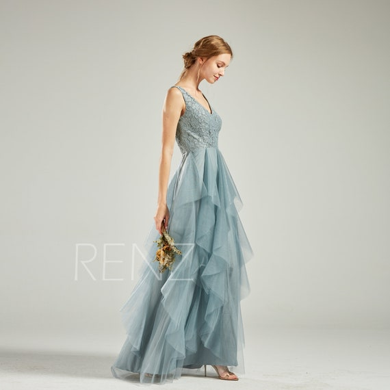 Formal Dress Long Dusty Blue Evening Gown Bridesmaid Dress Lace V Neck Ruffle Tulle Skirt for Women Open Back Evening Dress (HS761)
