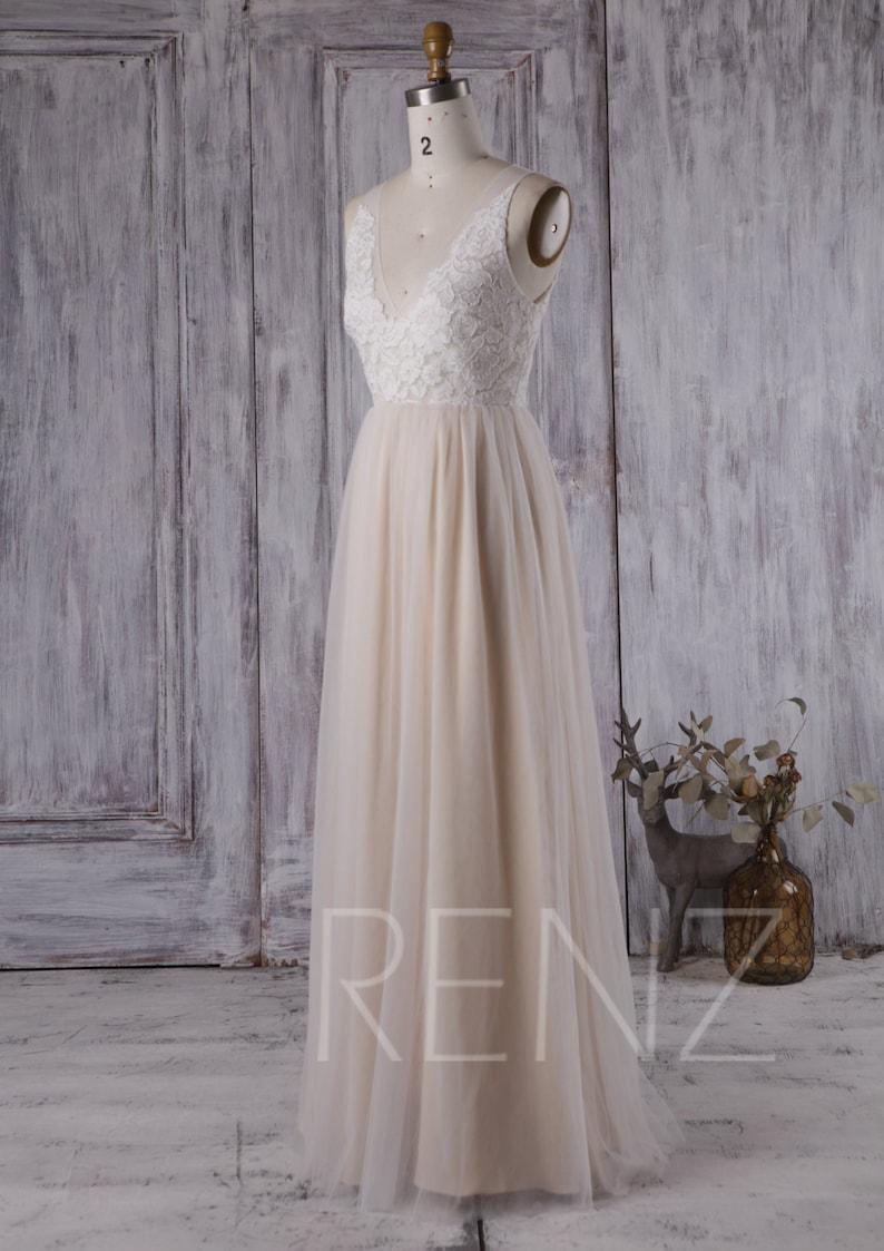 abeb00f0d106c Boho Wedding Dress White Lace Long Sleeve Bridesmaid Dress A-line Tulle V  Neck Prom Dress Bohemian Wedding Dresses (LS162)