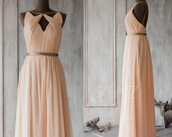 Bridesmaid Dress Peach Chiffon Dress,Wedding Dress,Hollow Neck Party Dress,Ruched Formal Dress,Backless A Line Maxi Dress (F063A1)-Renzrags