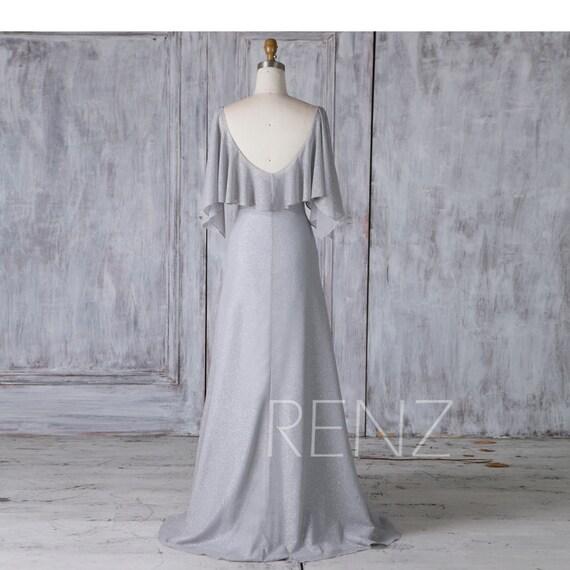 b38a68ed072 Gray Sequin Chiffon Bridesmaid Dress Ruffle Sleeve Wedding